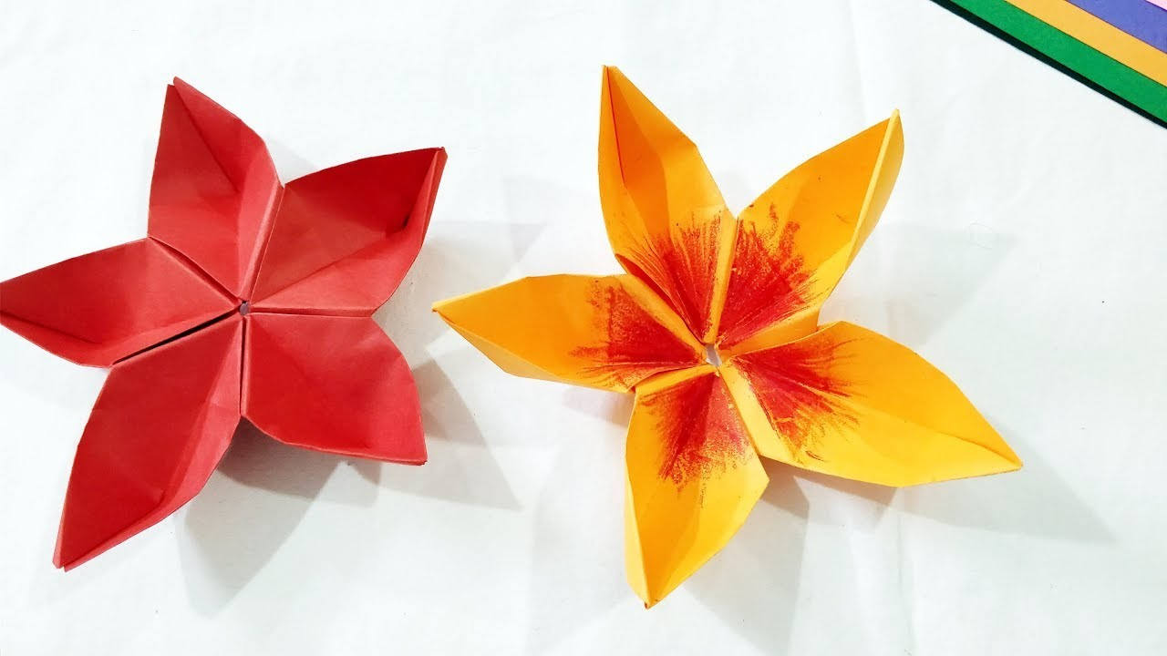 Five petals origami flower how to make easy diy origami art for kids mightylinksfo