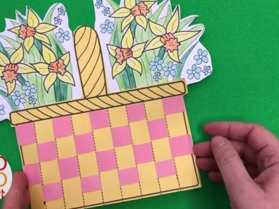 Flower Basket Paper Weaving Card with Template - DIY Mother's Day Cards - Thank You Cards Teachers