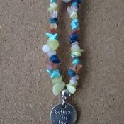 Gem stone chip bracelet with charm