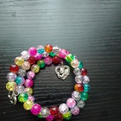 Glass bead memory bracelet with heart charms