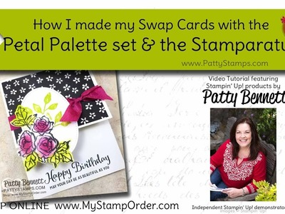 How I used my Stamparatus to make Petal Palette cards for swaps