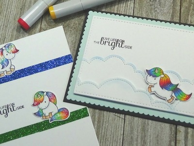 How To: Clean and Simple Cards with No Mess Glitter | 2 Cards + 1 Stamp Set