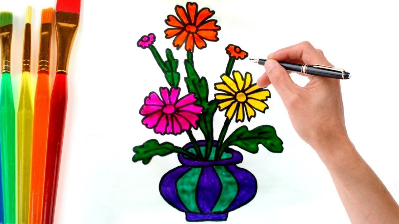 How To Draw Flower Pot And Fill Color Easy Step By Step