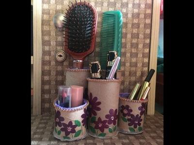 How to make a hair brush holder. Makeup brush holder. DIY makeup brush organizer.