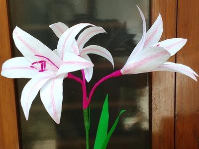 How to make Crepe Paper Flowers Milk & Wine Lily. Crinum latifolium (flower # 262)