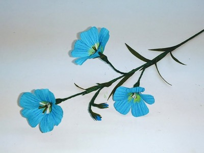 How to make Crepe paper flowers Blue Flax. Linum Perenne (flower # 263)
