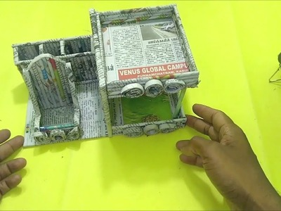 How to make Desk Organizer with Rack Using Newspaper   All type Videyos
