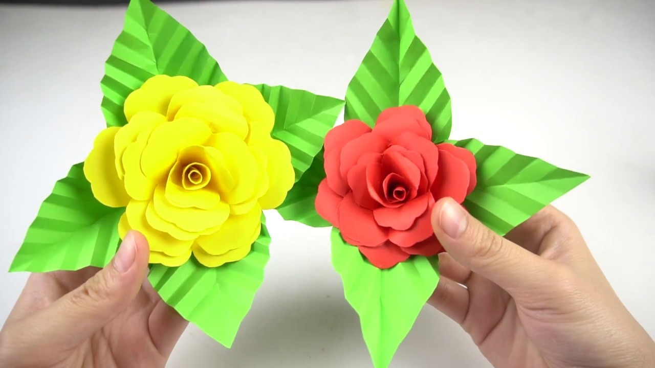 How To Make Easy Paper Flower Making Paper Rose Flowers Step By