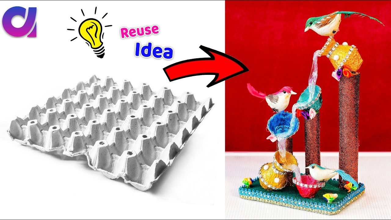 How to Make egg tray waterfall showpiece | Best Out of waste | Artkala 452