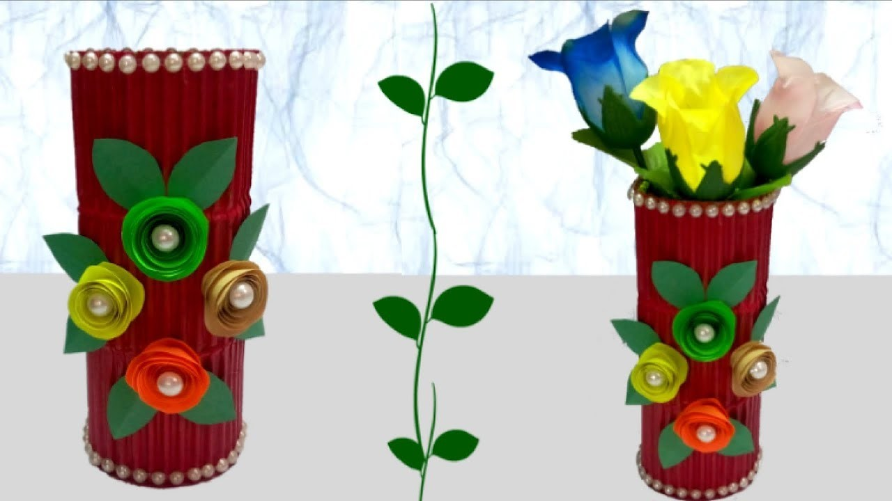 How To Make Flower Vase From Waste Material Flowers Healthy