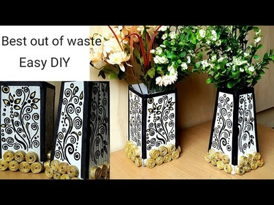 How to make Flower vase with cardboard and newspaper | #bestoutofwaste | colours Creativity Space