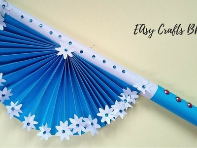 How To Make Paper Hand Fan With Stick Origami