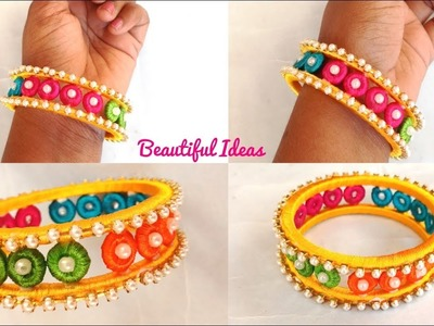 How to Make Silk thread Designer Fancy Bangle Kada Bangle Making with Donut Rings Beautiful Ideas