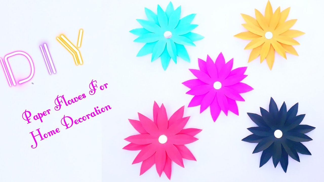 How To Make Simple And Easy Paper Flowers At Home | diy room decor|Paper crafts for home decoration