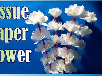 How to make tissue paper flower stick . टिश्यू पेपर से सुन्दर फूल बनाना सीखे।