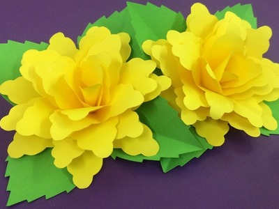 How to Make Yellow Paper Flower | Making Paper Flowers Step by Step | DIY-Paper Crafts