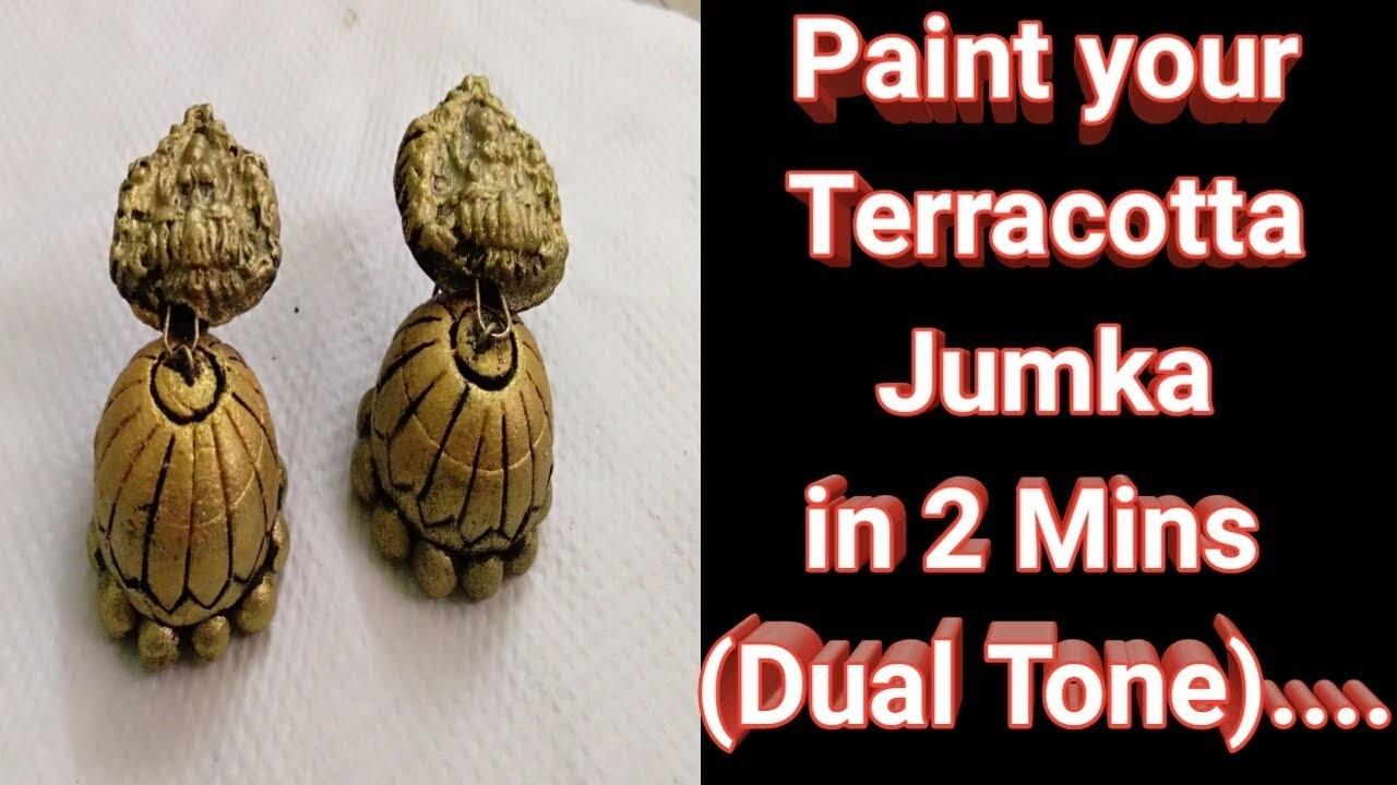 How to paint dual tone terracotta jumka easily in 2 mins