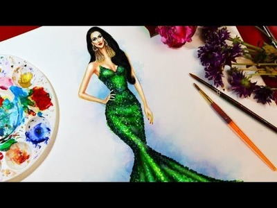 How to paint fashion mermaid gown: for beginners