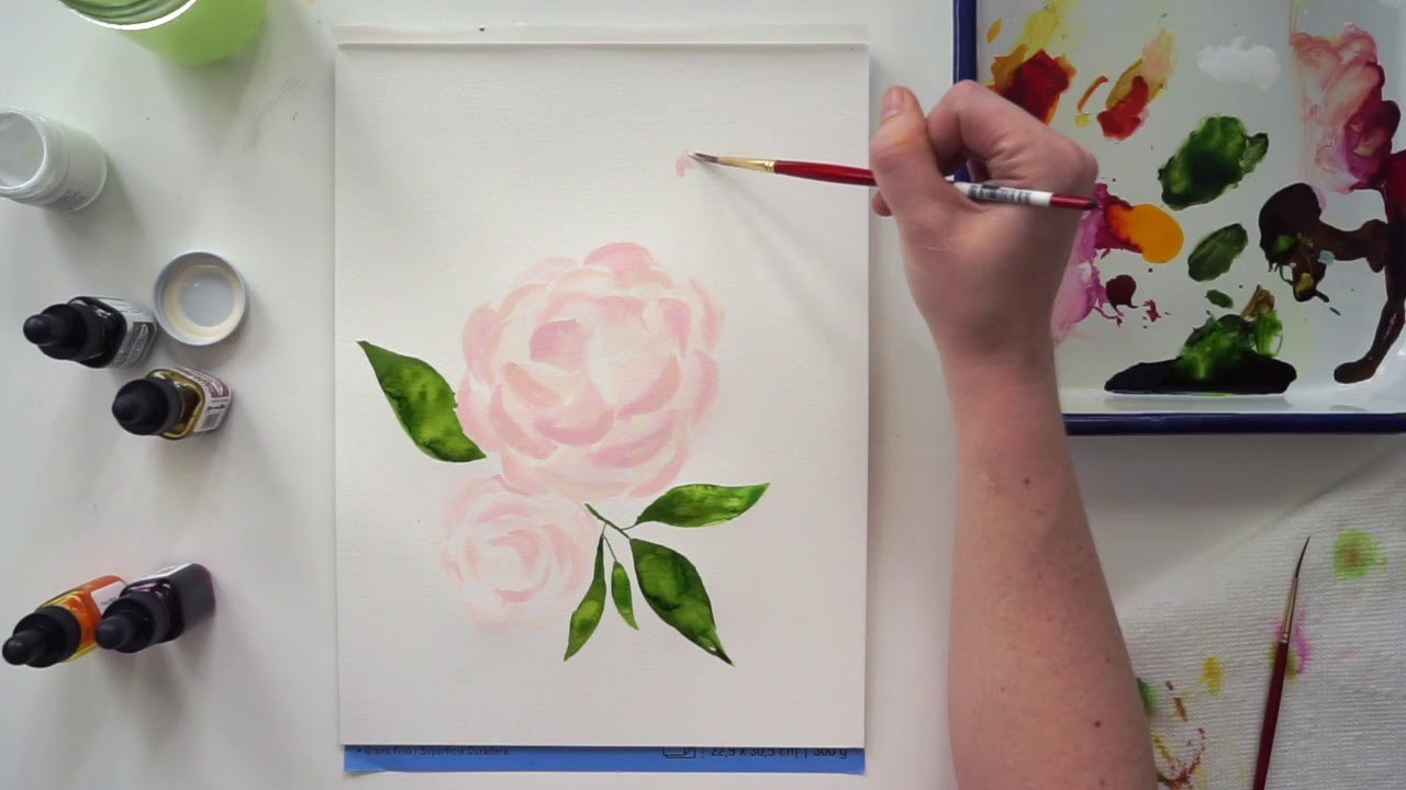 How To Paint Watercolor Pink Peonies