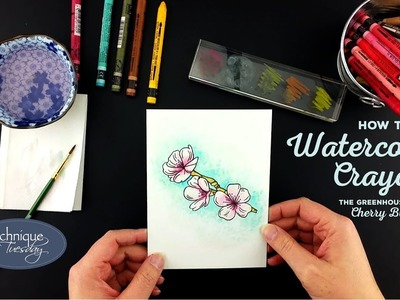How To Use Watercolor Crayons on Cherry Blossoms - Technique Video - Technique Tuesday