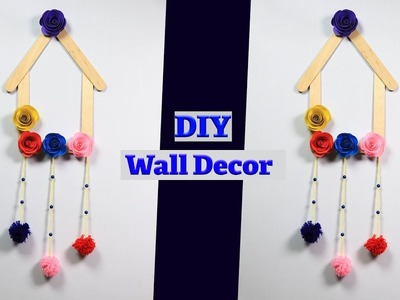 Paper Flower Wall Hanging – How to Make Wall Hanging with Ice Cream Stick – Wall Decoration Ideas