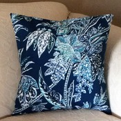 Pillow  Cover - Blue Leaf Print - Tommy Bahama  Fabric -  Indoor/Outdoor - Handmade