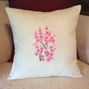 Pillow Cover -   Off White Cover with Pink Embroidered Cherry Blossoms - Handmade