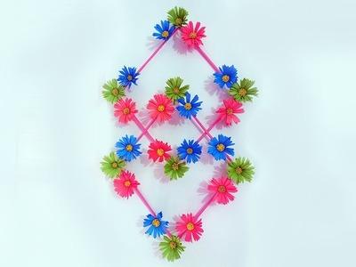 কাগজ দিয়ে সুন্দর করে ঘর সাজান | DIY Hanging Flower - Paper Flower Wall Hanging - Wall Decoration