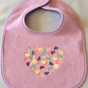 "Violet Baby Bib - Embroidered -  ""Heart Full of Cupcakes""  - Handmade"