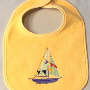 "Yellow Baby Bib with Embroidered ""Sailboat"" - Handmade"
