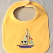 "Yellow Baby Bib with Embroidered ""Sailboat"" - Handmade"