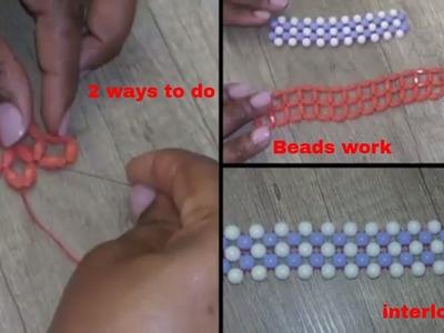 2 ways to do beads interlocking! In English beading and Edo state beading.
