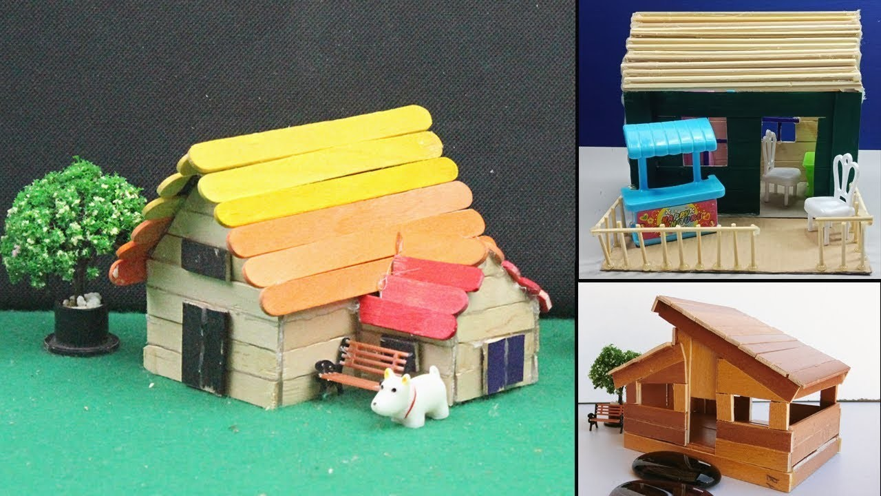 5 Easy Handmade Popsicle Stick House & Dollhouse #25, DIY