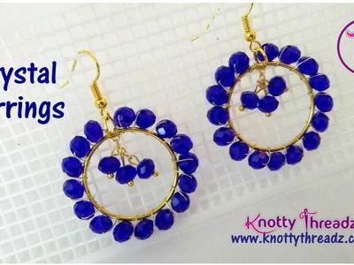Blue Crystal Earrings | Fashion Jewelry Series | Handmade Party Wear Jewelry | www.knottythreadz.com