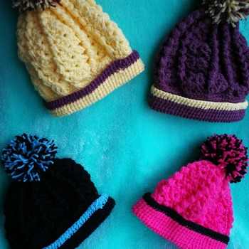Bobble hats in lovely bright colours for babies or dolls