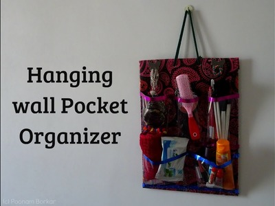 DIY - Hanging wall pocket organizer | Makeup organizer using cardboard | Best out of waste