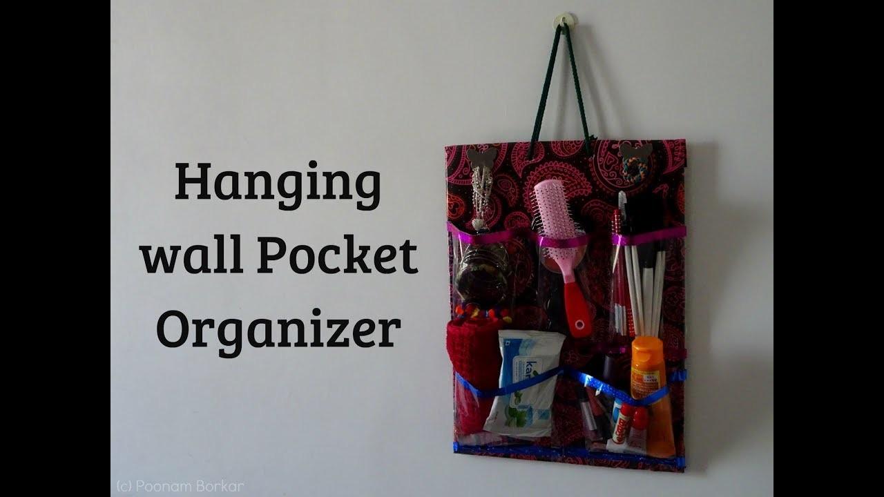 DIY - Hanging wall pocket organizer | Makeup organizer using cardboard | Best out of waste