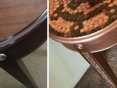 DIY HOME DECOR PENNY TABLETOP.REVAMPED COFFEE TABLE.PENNY ART.DIY EPOXY RESIN PENNY TABLE
