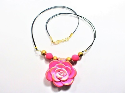 DIY How to Finish a Necklace Cord along with Polymer Clay Rose Flower Pendent Tutorial