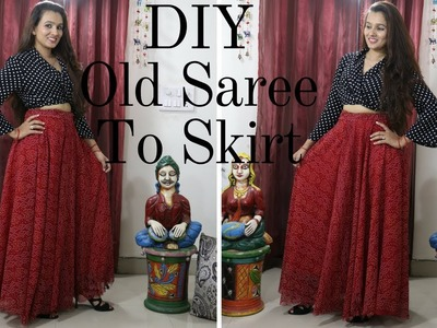 DIY   Make Multi Purpose Long Skirt From Old Saree