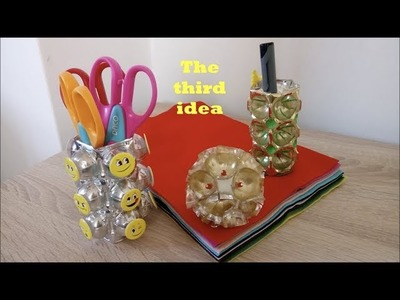DIY Pencil holders from plastic wrapper