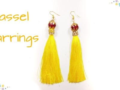 DIY Yellow Tassel Earrings  Silk Thread Tassel Earrings by Miss. Artofy