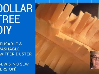Dollar Tree DIY - reusable washable swiffer duster (Sew and No-Sew options)