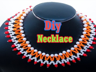 How to make a beautiful necklace at home by pearl beads