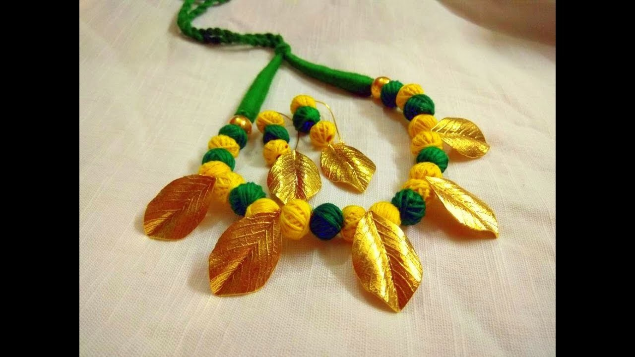 Oxidized Necklace w. matching Earrings | Golden leaf and green beads | Video #11