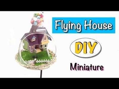 Tiny Dollhouse miniature inside a glass ball- Flying House- kit- DIY- Cuteroom-