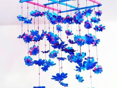 কাগজ দিয়ে সহজে রুম সাজানো | DIY: Easy Home Decor | Room decor with hanging color paper flower