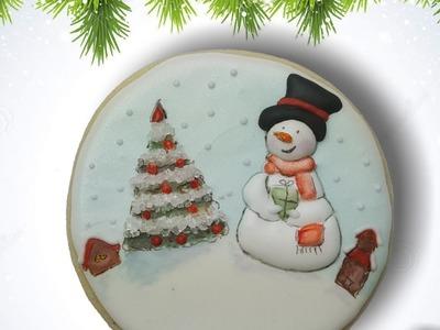 Cozy Snowman village sugar cookie (How to)