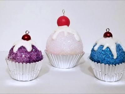 Day 5 ~ 50 Christmas Crafts in 50 Days ~ How to Make these Adorable Glitter Cupcake Ornaments