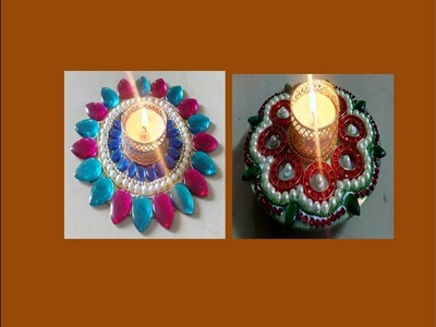DIY - How to make diya candle holder from old CD  Diwali Rangoli decoration ideas by Shital Mahajan.